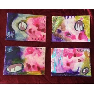 """Other - Lavender & Pink Study - Four 4"""" X 6"""" Painting"""